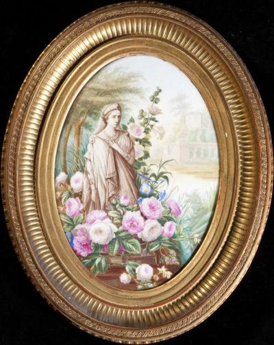 Plaque en porcelaine : Statue mortuaire de Rachel - Patrimoine Charles-André COLONNA WALEWSKI, en ligne directe de Napoléon