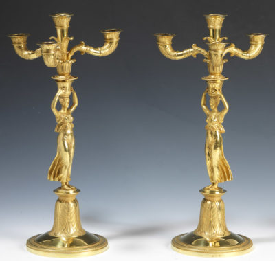 Paire de candélabres en vermeil - Patrimoine Charles-André COLONNA WALEWSKI, en ligne directe de Napoléon