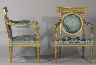 Importante paire de fauteuils à tête d'aigle - Patrimoine Charles-André COLONNA WALEWSKI, en ligne directe de Napoléon