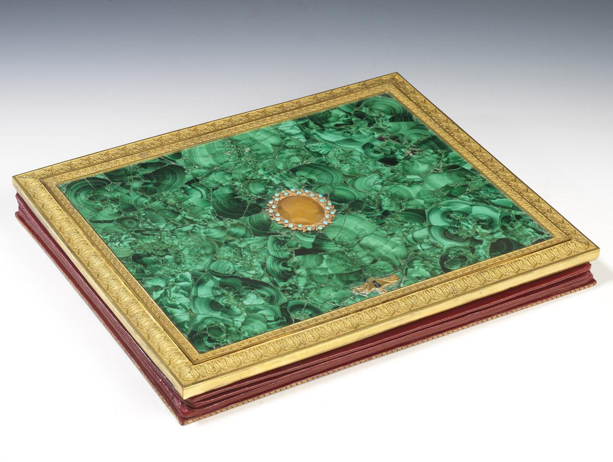 Porte feuille en bronze et malachite - Patrimoine Charles-André COLONNA WALEWSKI, en ligne directe de Napoléon