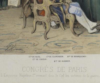 """Lithographie en couleur """"Le Congrès de Paris"""" - Patrimoine Charles-André COLONNA WALEWSKI, en ligne directe de Napoléon"""