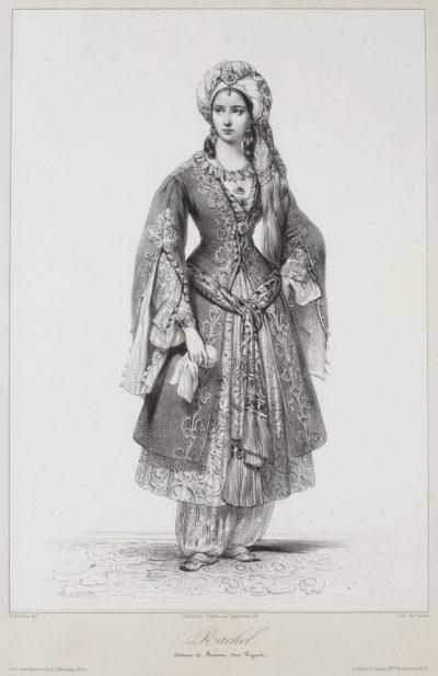 Rachel dans le rôle de Roxane de Bajazet, lithographie de Devéria - Patrimoine Charles-André COLONNA WALEWSKI, en ligne directe de Napoléon