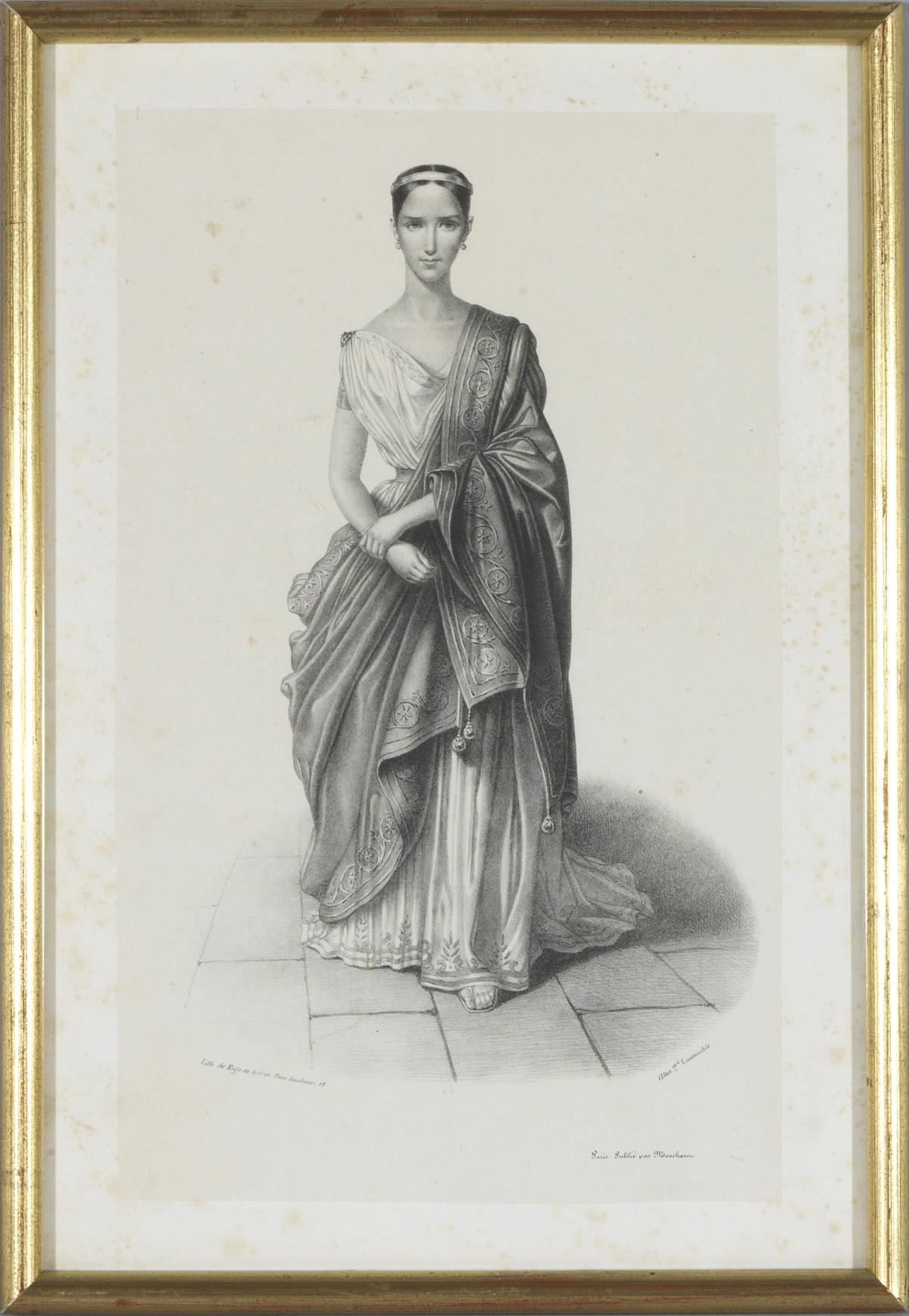 Lithographie : Portrait de Rachel - Patrimoine Charles-André COLONNA WALEWSKI, en ligne directe de Napoléon