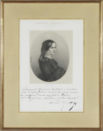 Portrait de Rachel dédicacé par Houssaye - Patrimoine Charles-André COLONNA WALEWSKI, en ligne directe de Napoléon