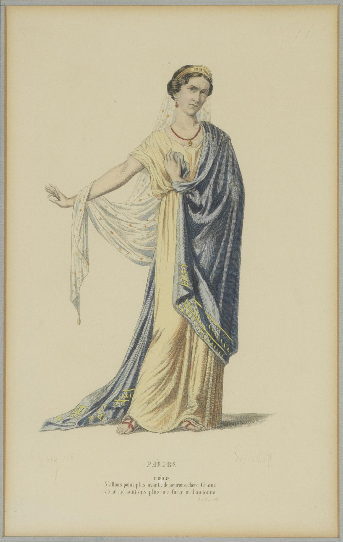 Lithographie de Rachel dans le rôle de Phèdre - Patrimoine Charles-André COLONNA WALEWSKI, en ligne directe de Napoléon