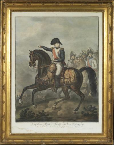 Gravure de Napoléon à cheval d'après Carle Vernet - Patrimoine Charles-André COLONNA WALEWSKI, en ligne directe de Napoléon