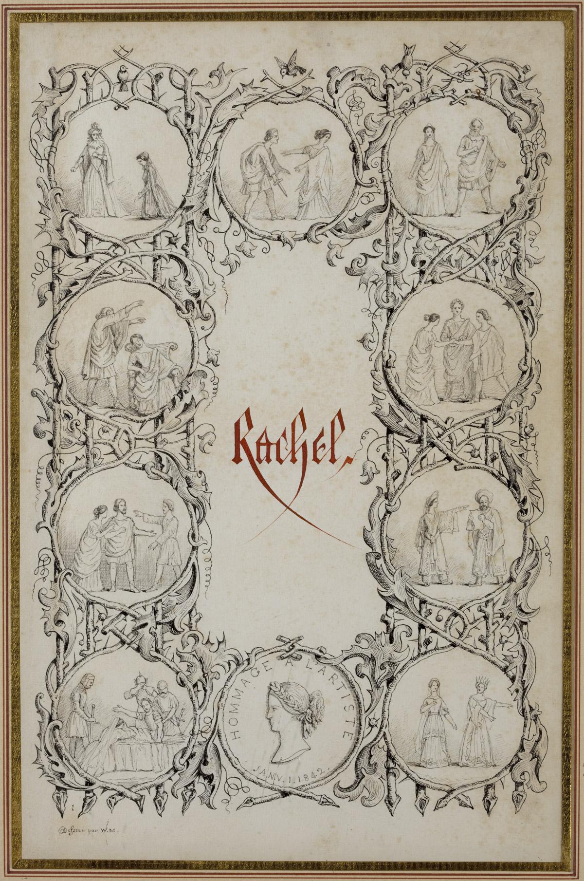 Hommage à Rachel, dessin à la plume - Patrimoine Charles-André COLONNA WALEWSKI, en ligne directe de Napoléon