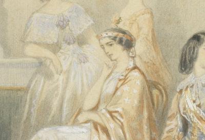 Dessin : Le foyer de la Comédie Française avec Rachel - Patrimoine Charles-André COLONNA WALEWSKI, en ligne directe de Napoléon