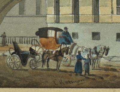 Gouache : Le Palais d'Hiver à St-Pétersbourg - Patrimoine Charles-André COLONNA WALEWSKI, en ligne directe de Napoléon