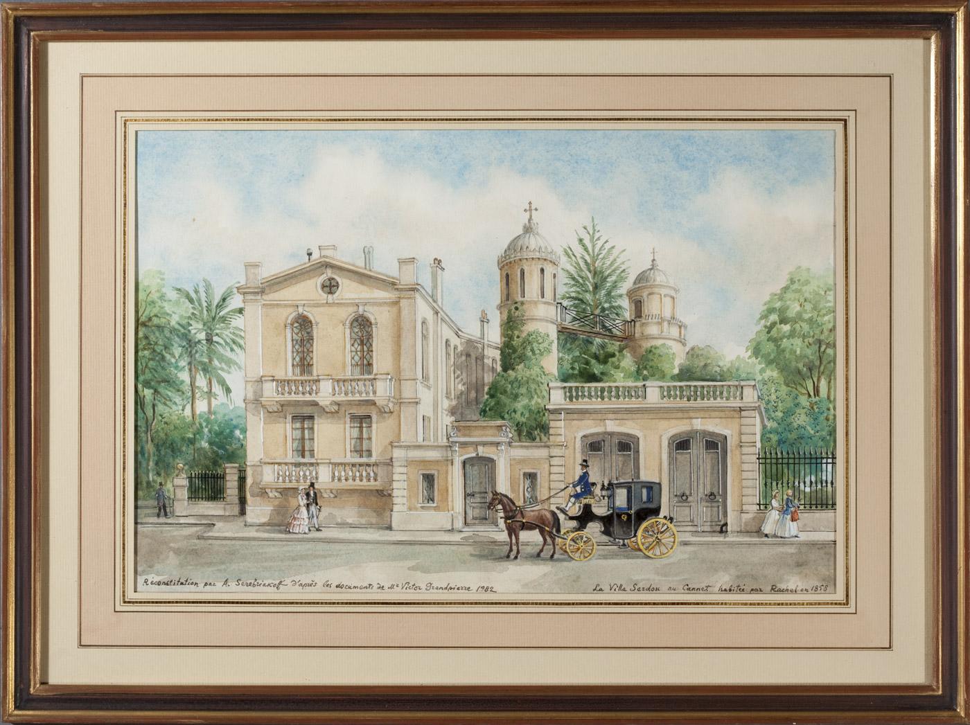 Trois aquarelles de Serebriakoff : La villa Sardou (résidence de Rachel) - Patrimoine Charles-André COLONNA WALEWSKI, en ligne directe de Napoléon