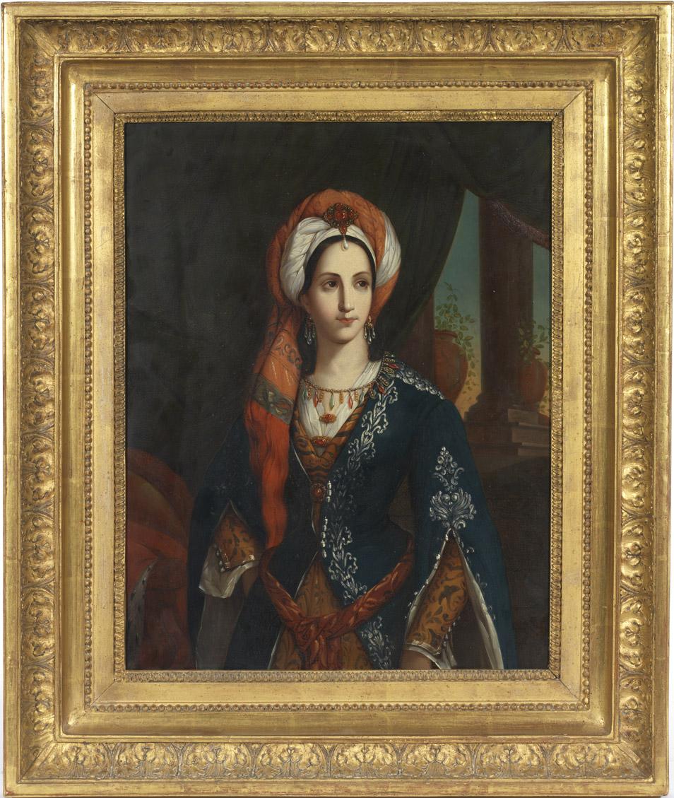 Rachel dans le rôle de Roxane de Bajazet, portrait sur cuivre - Patrimoine Charles-André COLONNA WALEWSKI, en ligne directe de Napoléon