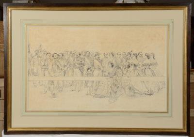 L'Impératrice Eugénie entourée de personnalités de la cour de Napoléon III dont Eugène Fould - Patrimoine Charles-André COLONNA WALEWSKI, en ligne directe de Napoléon