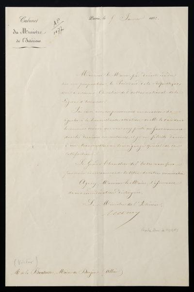 Autographe de NAPOLÉON III 8 juillet 1862 - Patrimoine Charles-André COLONNA WALEWSKI, en ligne directe de Napoléon