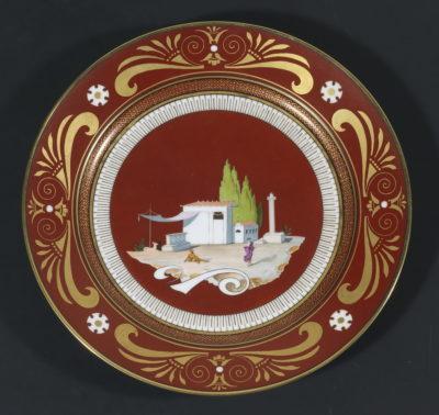 """assiettes à dessert du service """"pompéien"""" du prince Jérôme Napoléon - Patrimoine Charles-André COLONNA WALEWSKI, en ligne directe de Napoléon"""