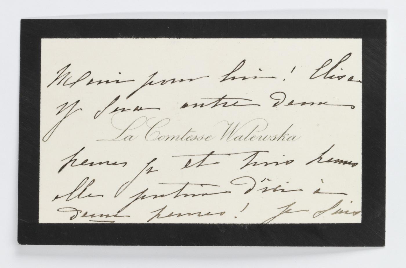 Carte de la Comtesse Walewska - Patrimoine Charles-André COLONNA WALEWSKI, en ligne directe de Napoléon
