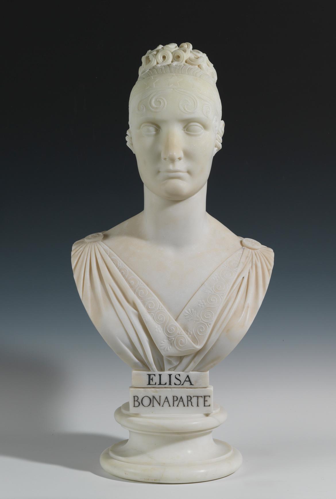Buste d'Elisa Bonaparte (1777-1820) par Lorenzo Bartolini - Patrimoine Charles-André COLONNA WALEWSKI, en ligne directe de Napoléon