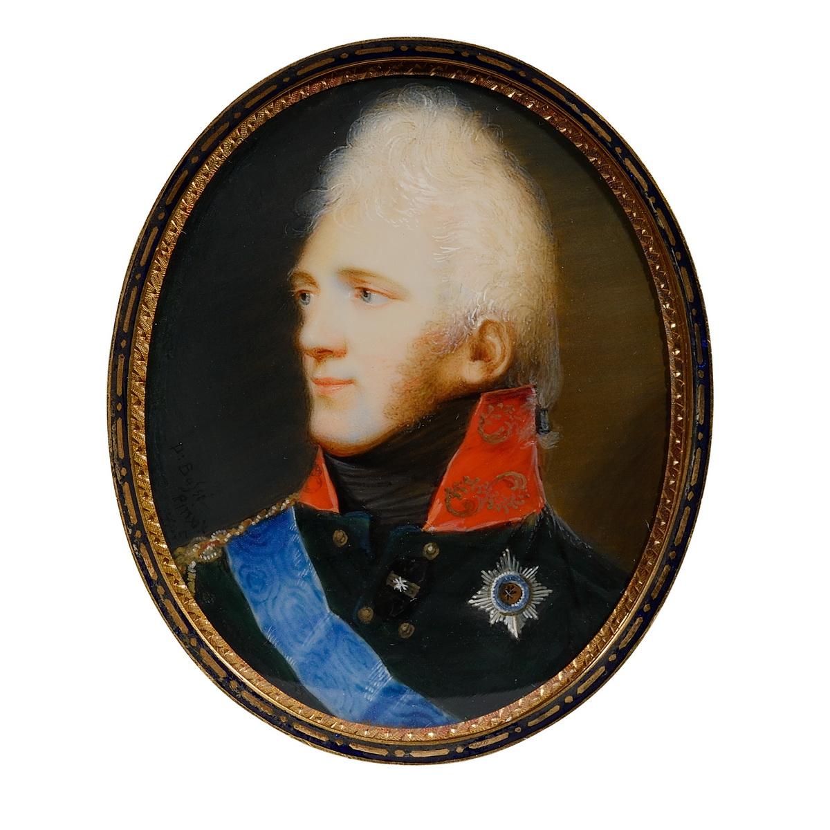 Miniature, Portrait d Alexandre 1er par Domenico Bossi - Patrimoine Charles-André COLONNA WALEWSKI, en ligne directe de Napoléon