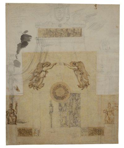 Projet de tribune Aigles au Champ de Mars 1806 PERCIER Charles - Patrimoine Charles-André COLONNA WALEWSKI, en ligne directe de Napoléon