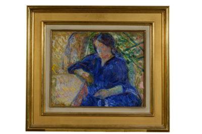 Yvonne à la robe bleue, N. THARKOFF - Patrimoine Charles-André COLONNA WALEWSKI, en ligne directe de Napoléon