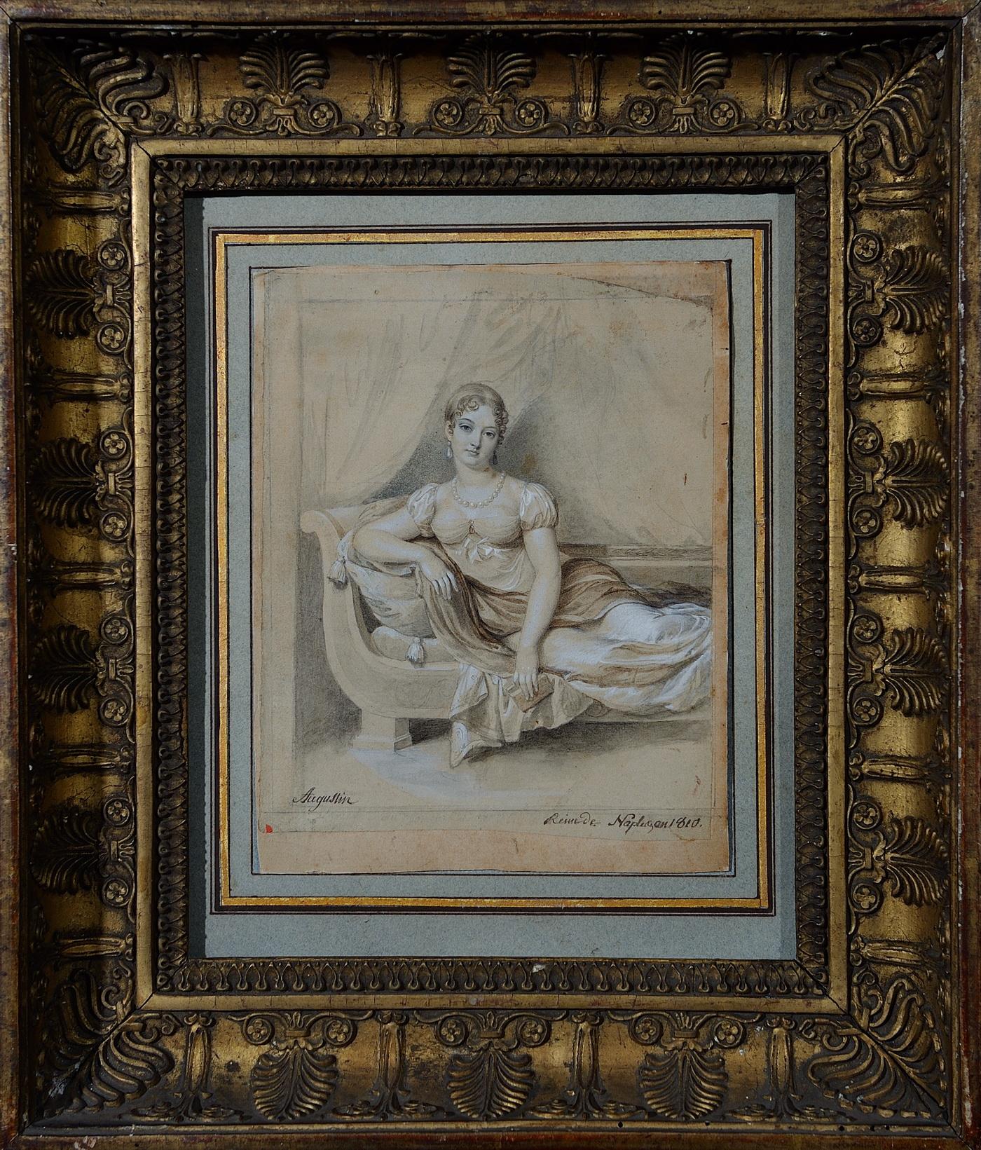 Dessin de la Reine Caroline Murat par Augustin - Patrimoine Charles-André COLONNA WALEWSKI, en ligne directe de Napoléon