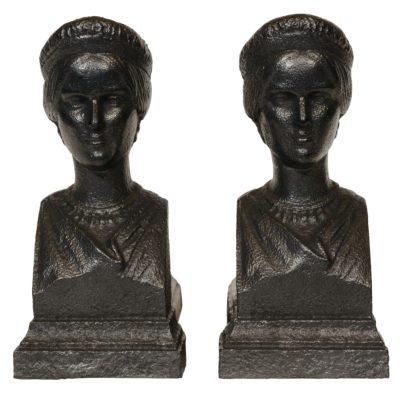 Chenets en fonte avec la tête de Rachel - Patrimoine Charles-André COLONNA WALEWSKI, en ligne directe de Napoléon