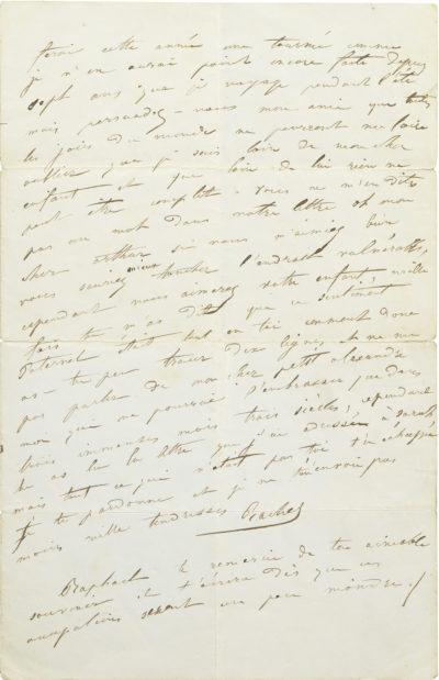 Lettre de Rachel à Arthur Bertrand - Patrimoine Charles-André COLONNA WALEWSKI, en ligne directe de Napoléon