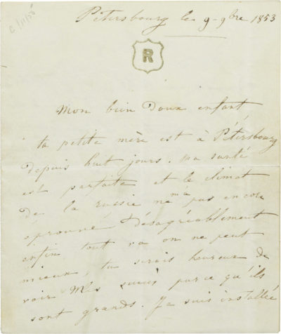Lettre de Rachel à son fils Alexandre II Walewski - Patrimoine Charles-André COLONNA WALEWSKI, en ligne directe de Napoléon