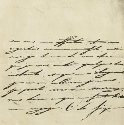 Lettre de Caroline Bonaparte à Alexandre Walewski - Patrimoine Charles-André COLONNA WALEWSKI, en ligne directe de Napoléon