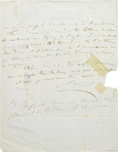 Lettre d'Alexandre Walewski à Rodolphe d'Ornano - Patrimoine Charles-André COLONNA WALEWSKI, en ligne directe de Napoléon