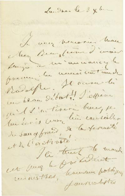 Lettre d'Alexandre Walewski I au général d'Ornano - Patrimoine Charles-André COLONNA WALEWSKI, en ligne directe de Napoléon