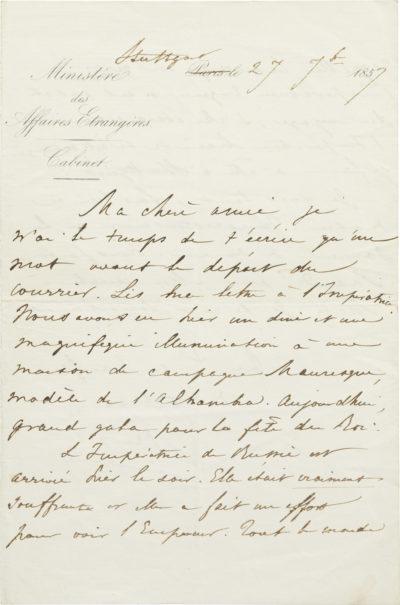 Lettre d'Alexandre Walewski I à son épouse - Patrimoine Charles-André COLONNA WALEWSKI, en ligne directe de Napoléon
