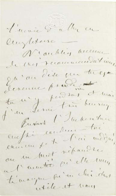 Lettre d'Alexandre Walewski I - Patrimoine Charles-André COLONNA WALEWSKI, en ligne directe de Napoléon