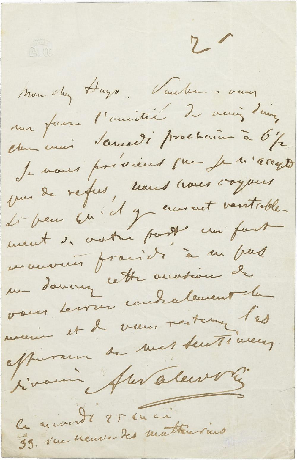 Lettre d'Alexandre Walewski I à Victor Hugo - Patrimoine Charles-André COLONNA WALEWSKI, en ligne directe de Napoléon