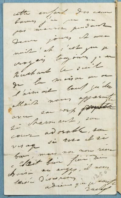 Lettre de Rachel, sur la mort de sa soeur - Patrimoine Charles-André COLONNA WALEWSKI, en ligne directe de Napoléon