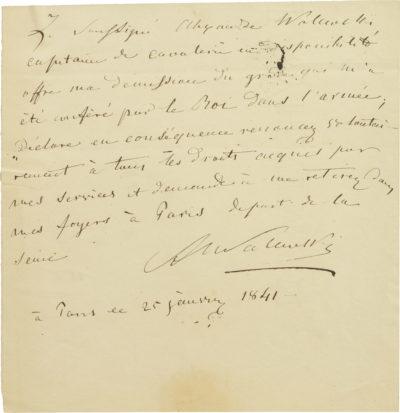 Démission de l'armée d'Alexandre Walewski I - Patrimoine Charles-André COLONNA WALEWSKI, en ligne directe de Napoléon