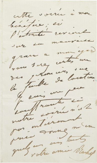 Lettre d'Alexandre Dumas (fils) et lettre de Rachel - Patrimoine Charles-André COLONNA WALEWSKI, en ligne directe de Napoléon