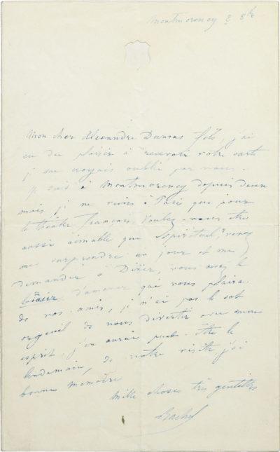 Lettre de Rachel à Alexandre Dumas fils - Patrimoine Charles-André COLONNA WALEWSKI, en ligne directe de Napoléon