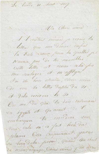 Lettre d'Alexandre II Walewski à Rachel - Patrimoine Charles-André COLONNA WALEWSKI, en ligne directe de Napoléon