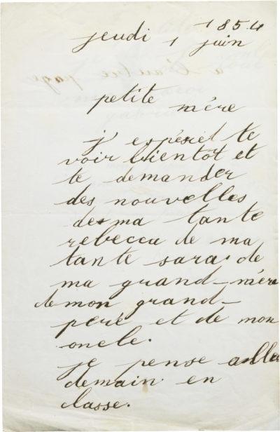 Lettre de Gabriel Félix à sa mère Rachel - Patrimoine Charles-André COLONNA WALEWSKI, en ligne directe de Napoléon