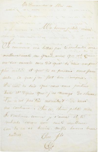 Lettre à Rachel de ses fils, Alexandre et Gabriel - Patrimoine Charles-André COLONNA WALEWSKI, en ligne directe de Napoléon