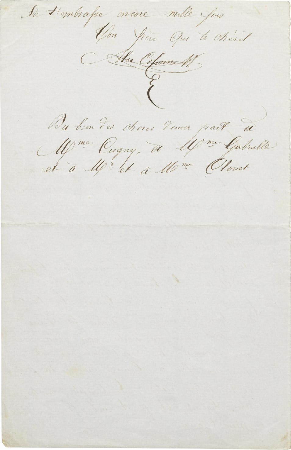 Lettre d'Alexandre II Walewski à Gabriel Félix - Patrimoine Charles-André COLONNA WALEWSKI, en ligne directe de Napoléon