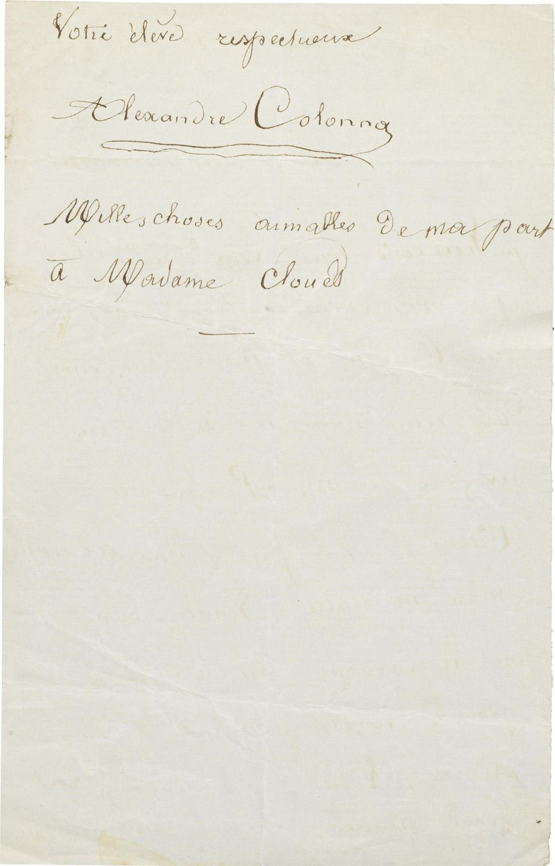 Lettre d'Alexandre II Walewski à Clouet - Patrimoine Charles-André COLONNA WALEWSKI, en ligne directe de Napoléon