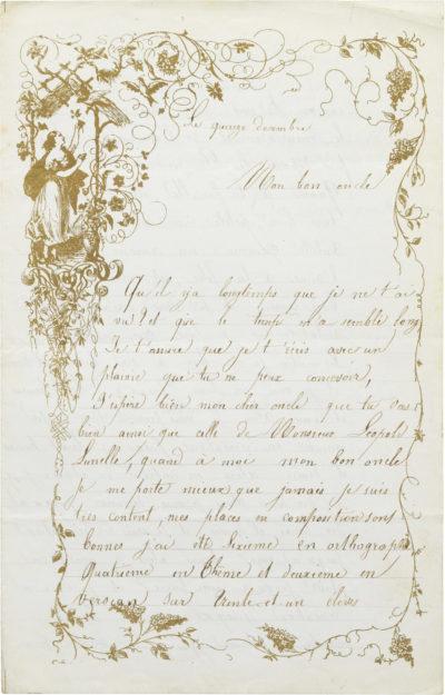 Lettre d'Alexandre II Walewski à son oncle - Patrimoine Charles-André COLONNA WALEWSKI, en ligne directe de Napoléon