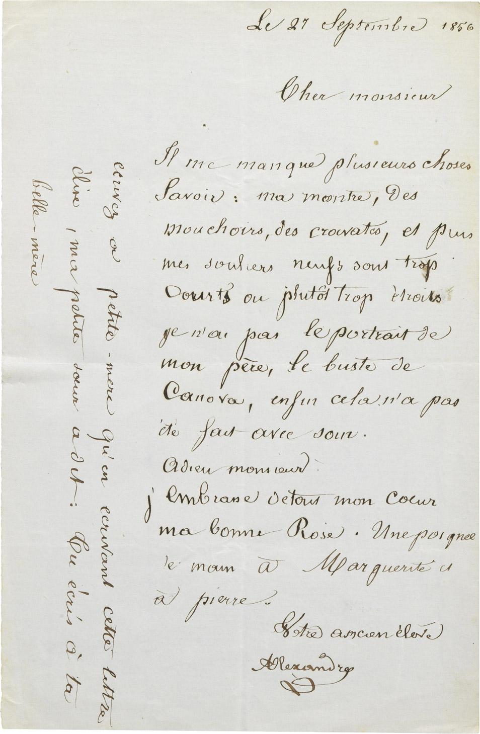 Lettre d'Alexandre II Walewski - Patrimoine Charles-André COLONNA WALEWSKI, en ligne directe de Napoléon