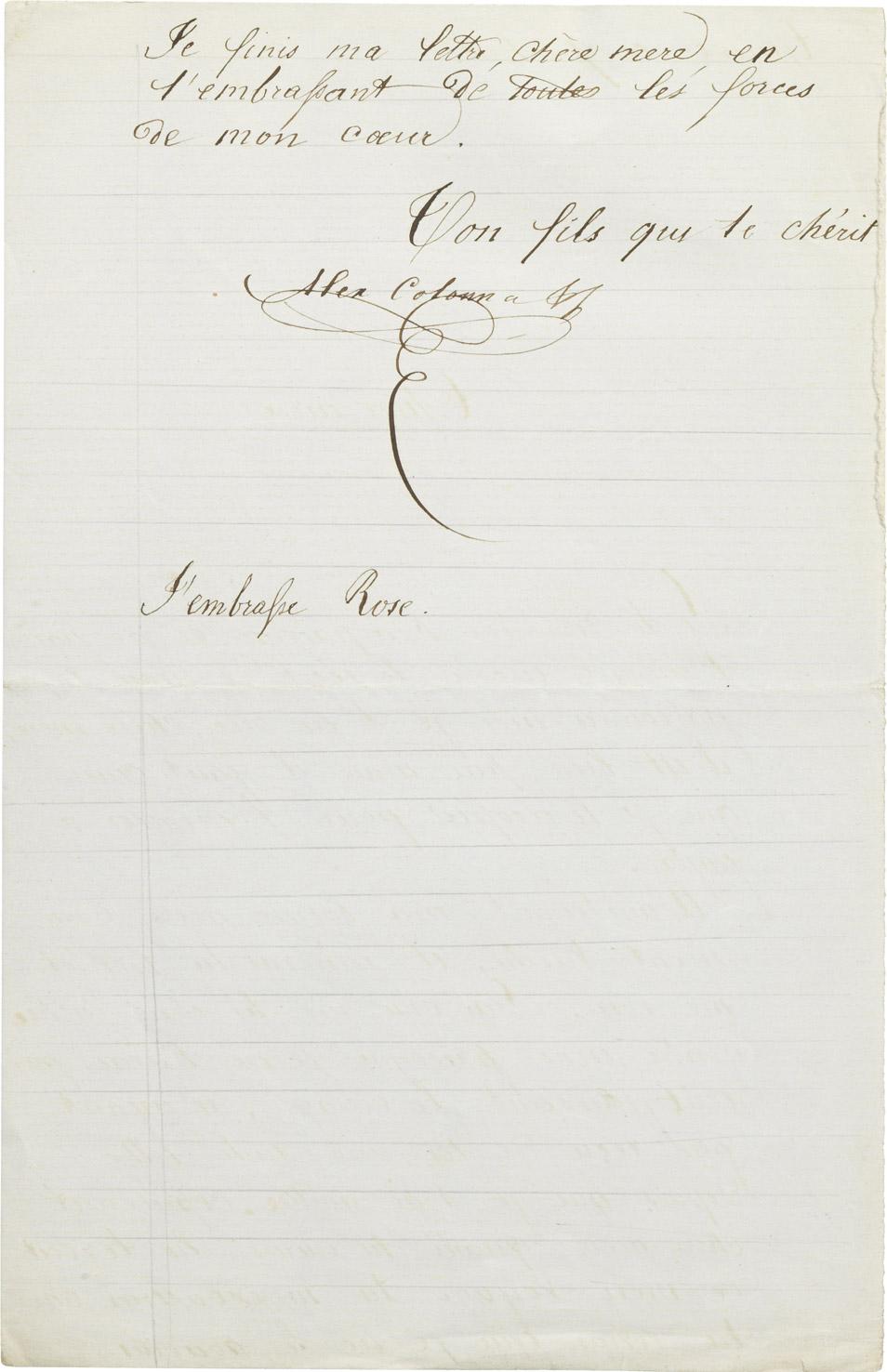 Lettre d'Alexandre II Walewski à sa mère Rachel - Patrimoine Charles-André COLONNA WALEWSKI, en ligne directe de Napoléon