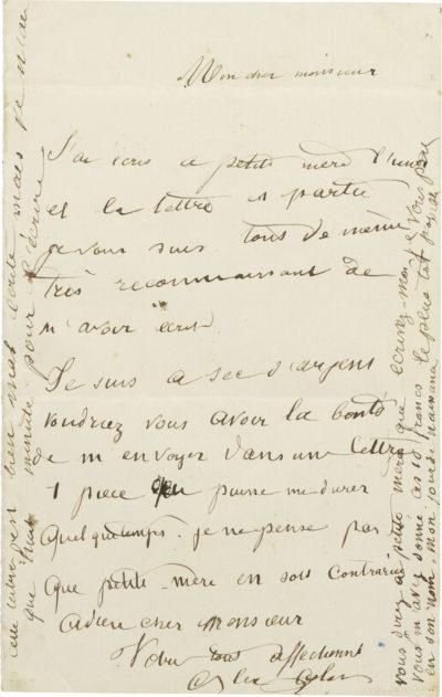 Lettre d'Alexandre II Walewski (à Bellevaut) - Patrimoine Charles-André COLONNA WALEWSKI, en ligne directe de Napoléon