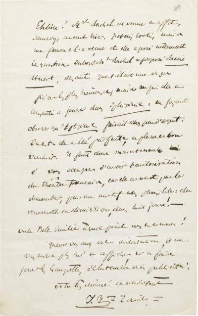 Lettre de Jules Janin sur Rachel - Patrimoine Charles-André COLONNA WALEWSKI, en ligne directe de Napoléon
