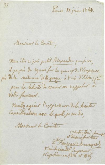 Lettre de Foureau de Beauregard à Alexandre Walewski - Patrimoine Charles-André COLONNA WALEWSKI, en ligne directe de Napoléon