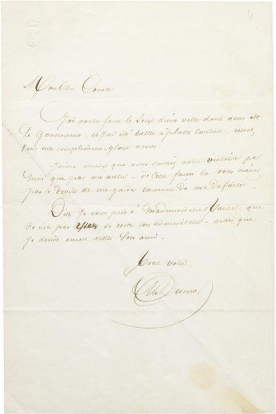 Lettre d'Alexandre Dumas père à Alexandre I Walewski - Patrimoine Charles-André COLONNA WALEWSKI, en ligne directe de Napoléon