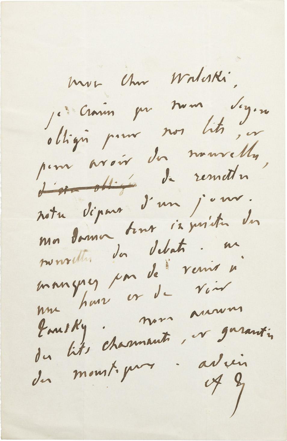 Lettre d'Adolphe Thiers à Alexandre I Walewski. - Patrimoine Charles-André COLONNA WALEWSKI, en ligne directe de Napoléon